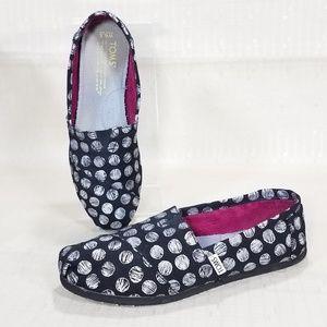 Toms Slip On Flat Shoes Metallic Circle Print 6.5